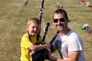 Me with pipes and my little cousin Adam